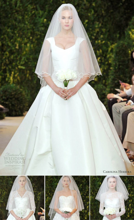 "weddinginspirasi:  Now Featuring - Carolina Herrera Bridal Spring 2014 Amazing variety, effortless elegance. Carolina Spring 2014 bridal collection is all about ""a whimsical play on lace""….  See the collection here  Like them….."
