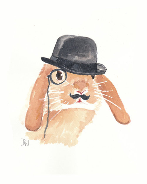 eitoela:  Rabbit Watercolor Original Painting Monocle por WaterInMyPaint on We Heart It
