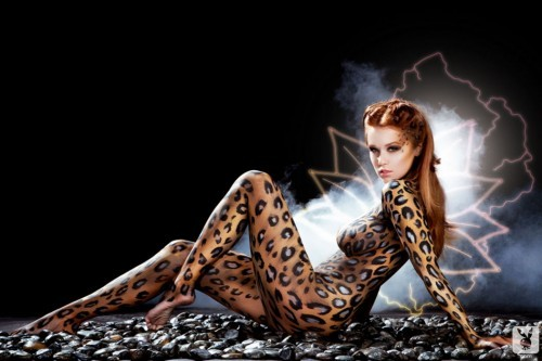 Leanna Decker Looks Ravishing in Leopard Print Body Paint