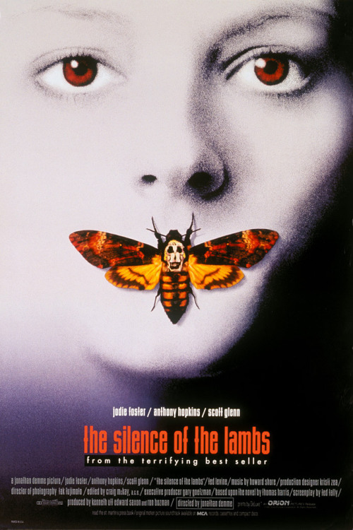 queercred:  Films Seen in 2013#23: Silence of the Lambs (USA, 1991)  Dir.: Jonathan DemmeStarring: Jodie Foster, Anthony Hopkins, Scott Glenn, Ted Levine★ ★ ★ ★          I'm having an old friend for dinner.          Fun fact that EVERYONE probably knows but I only recently learned. The skull on the moth is Salvador Dali's portrait of naked women creating a skull. Felt really dumb when I realized that, but it's so cool!