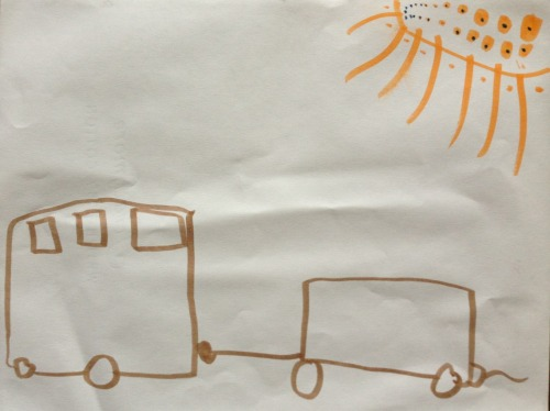 "Jonah calls this ""campers and sun."" I call this ""little black spots on the sun today."" Love his sun! March 2013 Jonah (age 4 1/2)"
