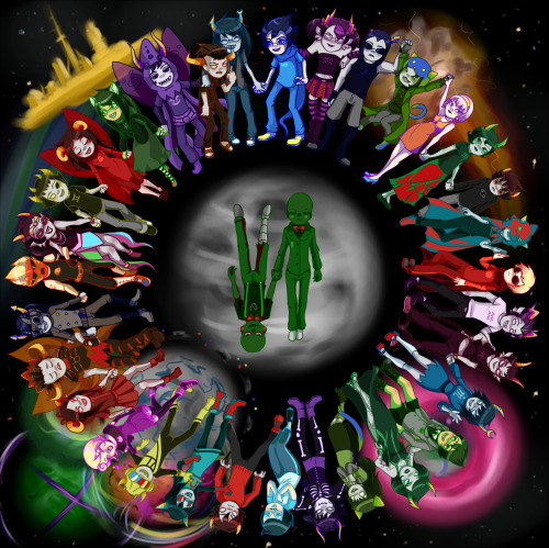 Oh my gosh, it's done!  My latest Homestuck fanart with way too many characters in it.  (I've got to stop doing this to myself.)