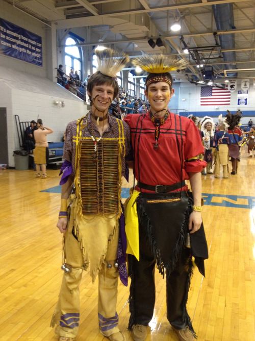 My friend John (right) and me (left) at a Tribal Conclave in St. Joseph, MO, all dressed up in our Native American regalia.