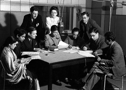 justkantgetenough:  T.S. Eliot and George Orwell at the BBC.