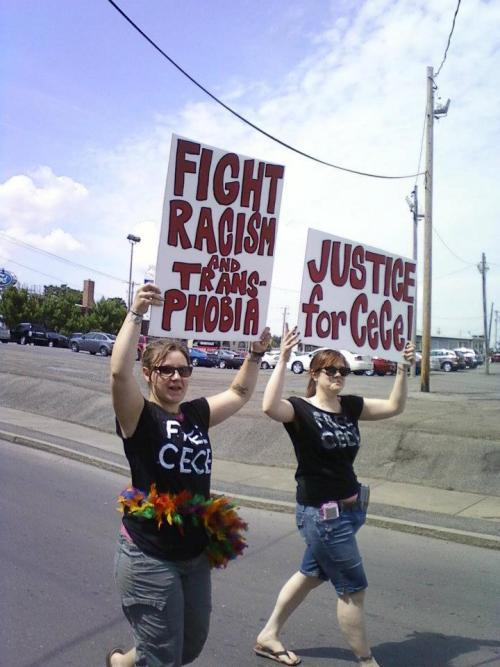 "3_Central New York Pride 2012: ""Fight racism & transphobia! Justice for CeCe!""photo credit: Elliott DeLinephoto caption:June 16, 2012Syracuse, New York, U.S.""Free CeCe!"" March in the Syracuse Pride Parade 2012++++Between now and trial I am posting a photo a day to FREE CECE NOW![for information about CeCe McDonald's struggle, explore: supportcece.wordpress.com]Thank you to the photographers/artists/activistswho are contributing photo/s to an onlineSLIDE SHOW DEDICATION to FREE CECE McDONALD—entitled ""This is what solidarity looks like!""The dedication will be part of the May Day 2013free online publication of the 20th-anniversaryauthor edition of Stone Butch BluesPlease make your own individual and group photosin support of CeCe's struggle for the slide showtitled ""This is what solidarity looks like!""FREE CECE NOW!!Photo information/photo credit forms:Facebook:https://www.facebook.com/notes/leslie-feinberg-on-facebook/stone-butch-blues-multi-media-digital-dedication-to-free-cece-mcdonald/486837591335592Tumblr:http://leslie-feinberg.tumblr.com/IACenter.org:http://iacenter.org/lgbt/cecemcdonaldpictures/"