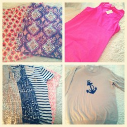 #instahaul I love when gramma takes me shopping! 😊 Went to J.Crew Factory and got these goodies! Poppy and paisley skirts, cotton racer back dress, two tanks, two tees and a sweater! Neons, prints and anchors- oh my! 😍 #jcrew #jcrewfactory #preppy #neon #anchor #print #instagood