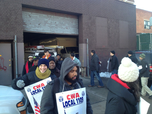"""CWA! We're not going away!"" Blocking scabs from leaving the garage in BK. #rehireCablevision22"