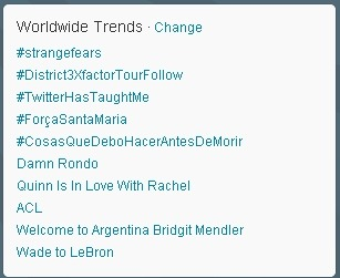 Quinn Is In Love With Rachel trending on Twitter on 27th January 2013