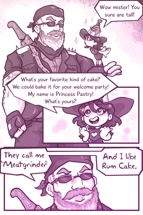 busterregalia:  rapid-artwork:  Finally cleaned up an old doodle I started a while ago.A stoic biker dude from a Mad-Max style post-apocalypse world gets teleported to a magical fairy realm where all conflict is solved through enchanted baking contests.Long story short he adjusts quickly and becomes an adopted dad to an entire kingdom of magical baking witches.   Damn this is good. I want more.