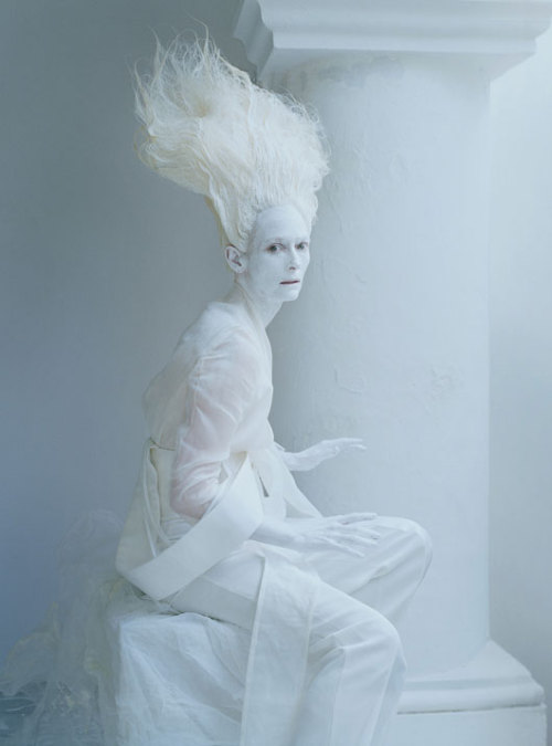 romanticnaturalism:  A ghostly Tilda Swinton in 'Stranger than Paradise' photographed by Tim Walker for W May 2013
