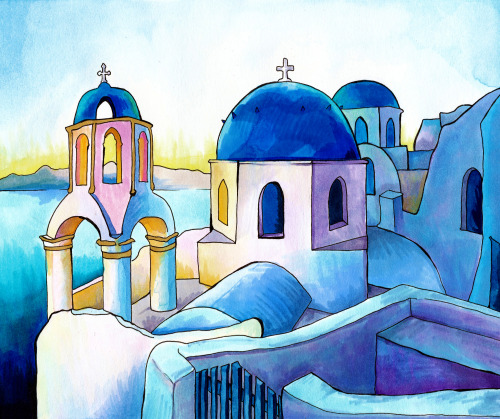 "paintmyworldrainbow:  ""Mykonos Greece"" Watercolor, copic marker and ink on paper.  Click through to buy a signed, numbered, limited edition print:"