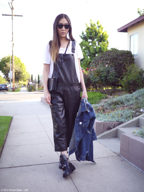 what-do-i-wear:   Zara overalls and linen tee // Acne denim jacket // Balenciaga boots // Céline bag // Rayban sunglasses (image: stopitrightnow)