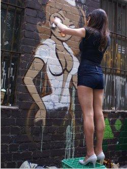 Graffiti, ladies and pumps