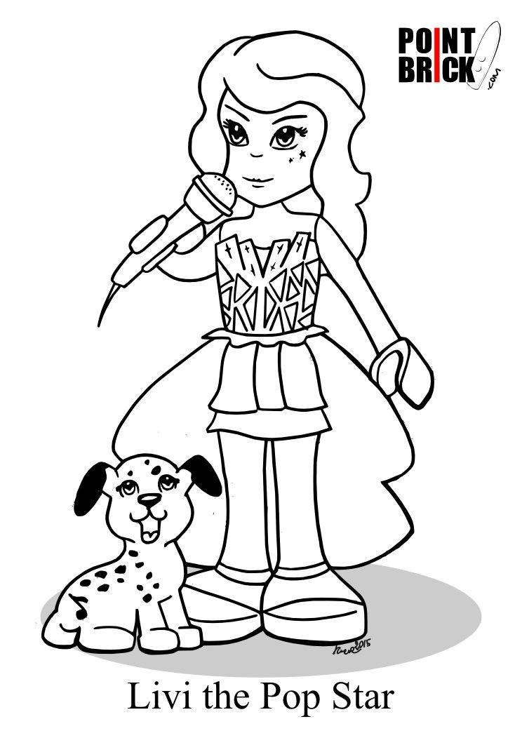 lego friends coloring pages | Point Brick — Coloring Pages - LEGO Friends Livi the Pop ...