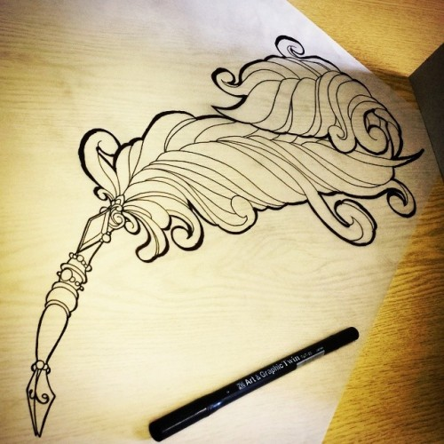 Traditional Feather Pen Tattoo   www.imgkid.com - The ...