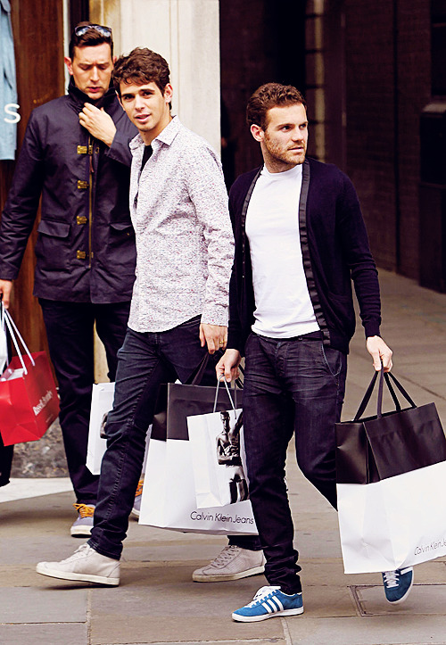 Oscar and Juan Mata sighting at Calvin Klein Jeans store