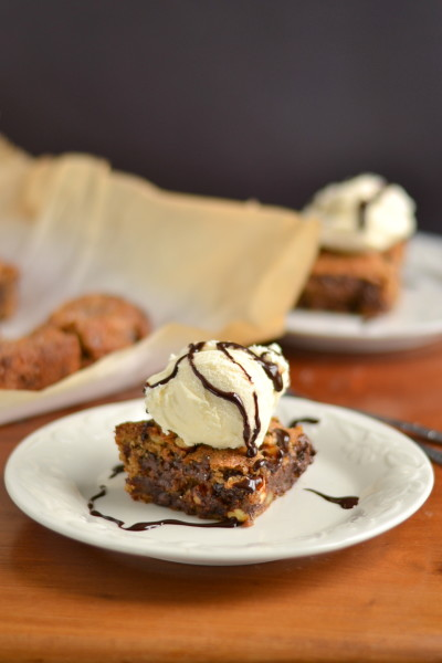 whole wheat and vegan hazelnut chocolate chip and date cookie bars click here for recipe