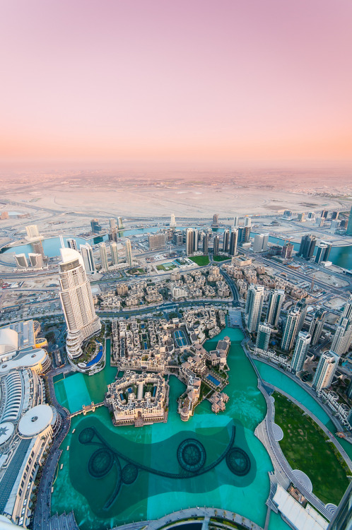 travelingcolors:  At the top of the Burj Khalifa, Dubai | UAE (by Billy Richards)