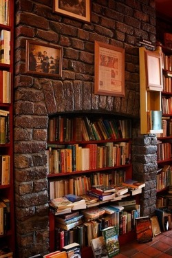 Bookshelves in a Nonfunctional Fireplace (via Books & Words)