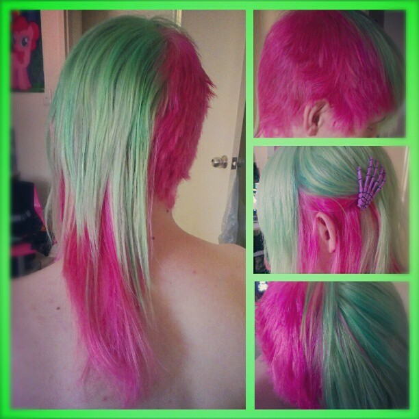 "songless:  So @kingowl wanted hair like my Venus McFlytrap monsterhigh doll & I said ""challenge accepted."" *proud face*"