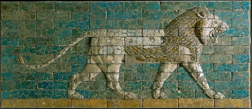 ancientpeoples:  Panel of Babylonian lion  Neo-Babylonian, 600 - 550 BC.  The most important road in the city of Babylon was the processional way leading to the 'the House of the New Year's Festival', the Gate to that building is called the Ishtar Gate. Leading up to that gates are reliefs of lions, the animal of the goddess Ishtar, to protect the street.  Source: The Metropolitan Museum