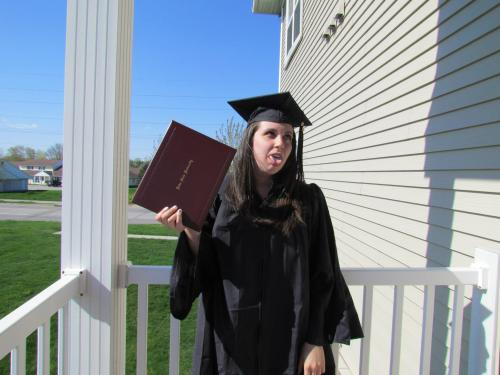 I graduated with my BFA in Graphic Design from Iowa State University on May 11, 2013. The thought of moving away this coming weekend is very bittersweet. I'm excited to start my life in Minnesota, but it's going to be hard to leave the place I've called home for the last five years. I grew up and changed so much during my time at ISU. While that would've been the case anywhere I went, I don't know if the results would have been the same. When I graduated from high school, I was still this shy, introverted girl who was afraid to break up with her boyfriend even though it was definitely not a good relationship to be in. During college, I forced myself out of my introverted shell, made some of the best friends I've ever had, did things I never thought I would do, had some bad relationships and a good one, and learned who I really am. That sounds super lame and full of cliches, but it's true. As much as I enjoyed college though, I seriously hope it wasn't the best five years of my life. I'll always look back on Ames and ISU fondly, but I can't cling to the past. I'm excited to see what the future holds for me.
