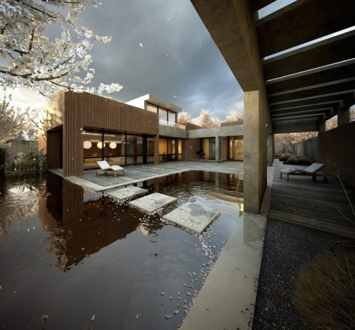 homedesigning:  Japanese Garden Pool With Cherry Blossom Tree Petals