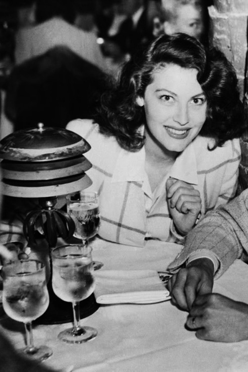 Ava Gardner at Los Angeles Ambassador's Coconut Grove, June 1942.