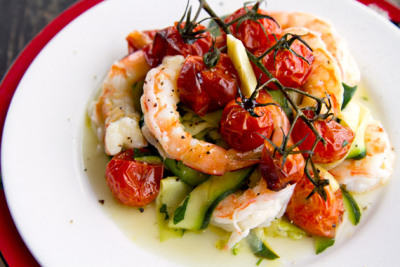 Garlic and Saffron Oil Poached Prawns with Zucchini and Vine Tomatoes with recipe (link)