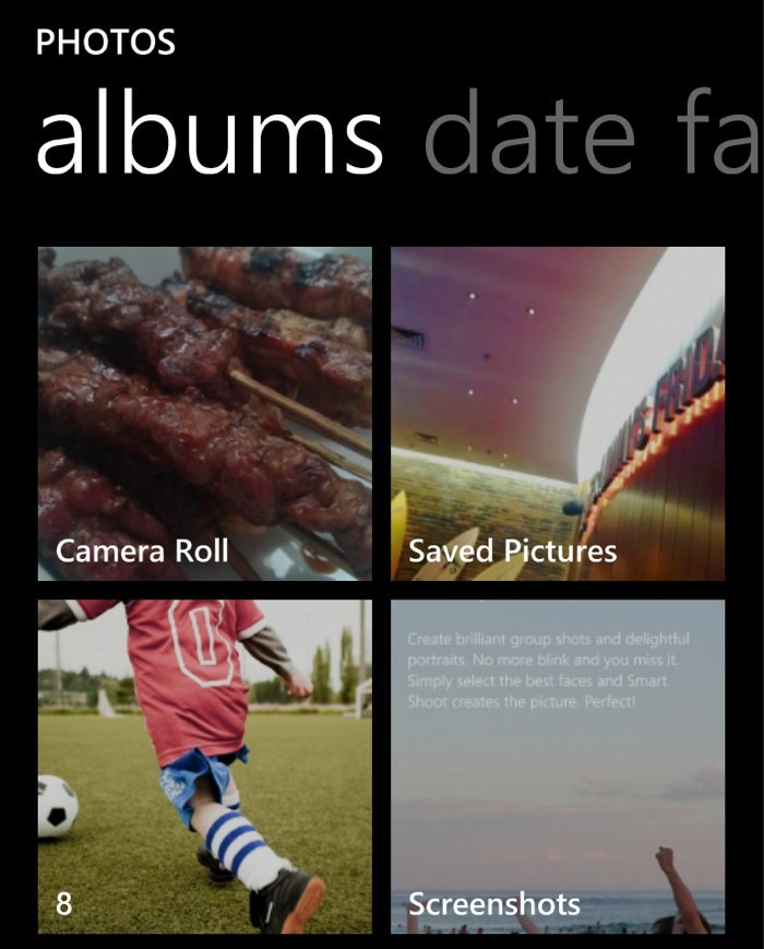 Windows Phone 8 has an album for Screenshots Since Windows Phone 8 has the ability to take screenshots by pressing the power button and the home button together (sounds familiar?) the photos have to go somewhere. On iOS, these go to Camera Roll, mixed with photos taken using the device's camera, causing a lot of grief to those who prefer to have their screenshots collected separately. On Windows Phone 8, Microsoft has made it so that screenshots go to their own album and these don't get uploaded or synchronized to SkyDrive, at least not automatically. You have to manually send photos to SkyDrive from the Screenshots album. The Saved Photos album is for photos or images generated by apps. Unless it's a photo edited directly from Camera Roll using the built in editing tools, edited photos end up in this album. These don't get synchronized to SkyDrive unless you make it so. If you do, the Saved Photos folder gets stored under Pictures on SkyDrive. Images manually saved to SkyDrive from these albums go to a folder called Mobile Uploads, which you can also access from the Photos app on Windows Phone 8. Yes it can get a little confusing but basically all photos except those in the Screenshots album get synchronized to SkyDrive if you activate the option.