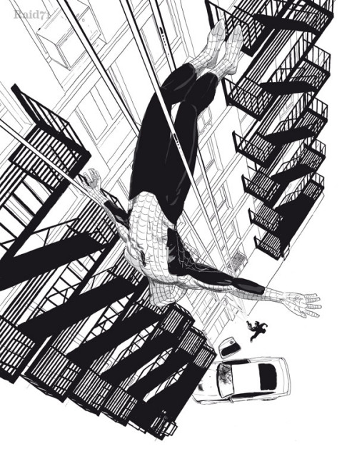 herochan:  Spiderman on the streets of New York Illustration by Chris Thornley Website ll Tumblr ll Charity