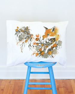 Fox in Foliage pillow case by Teagan White