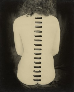 Greatly influenced by Surrealism, Kansuke Yamamoto made innovative photographs, collages, and poems and was a key figure in the Japanese avant-garde. His work is featured in Japan's Modern Divide: The Photographs of Hiroshi Hamaya and Kansuke Yamamoto. Stapled Flesh, 1949, Kansuke Yamamoto. From the Collection of Gloria Katz and Willard Huyck. © Toshio Yamamoto
