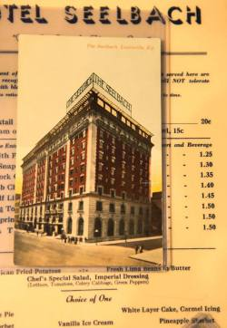 gatsbymovie:  Here's a vintage postcard and dinner menu from Louisville's Seelbach Hotel, where Daisy married Tom in The Great Gatsby.Head to Vanity Fair for more exclusive photos from Baz Luhrmann's behind-the-scenes journal: http://vnty.fr/YZJcvN