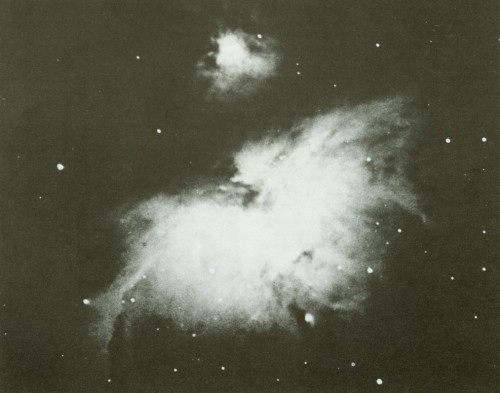crookedindifference 1883 photo of the Orion Nebula made by Andrew Ainslie Common for which he won the Gold Medal of the Royal Astronomical Society in 1884.