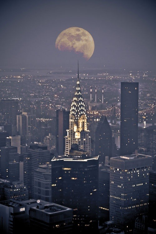 grikurt:  kimmismiles:  The moon perfectly framed over New York City. - Imgur  Why doesn't this have more notes..