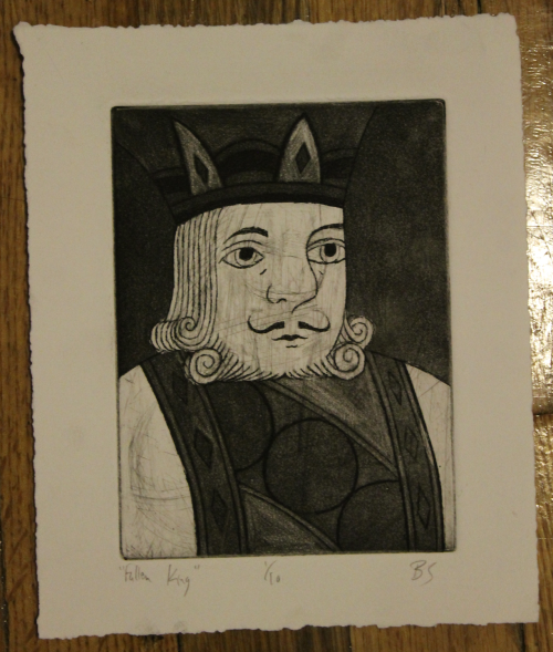 """Falling King"" Zinc plate (scratched)/Line etching & aquatint & burnishing/Stonehenge Paper"