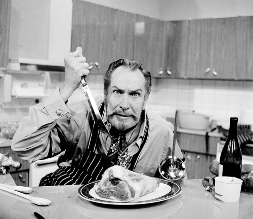 "vintagegal:  Vincent Price on the set of his cooking show- ""Cooking Price-Wise"" 1971"
