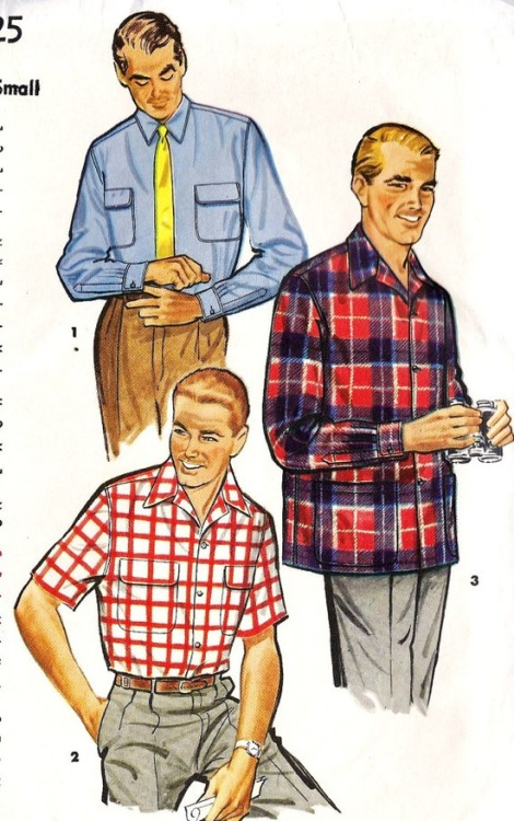 theniftyfifties:  1950s men's button down casual shirt sewing pattern.