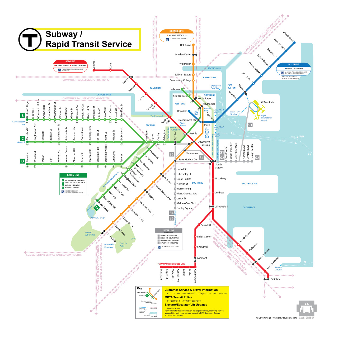 "Non-Entry for the MBTA ""New Perspectives"" Map Challenge I love the idea of re-designing Boston's clunky quasi-decipherable Rapid Transit Map. When I heard that the T was putting together a challenge to re-design the map I seized the opportunity. My enthusiasm cooled once I read the fine-print, but more on that later. I spent the weekend tweaking Bezier curves and aligning dots (so many damn dots), using references like Google maps and subway maps from around the world and came up with this.  Notably absent from the current map is any green space or any of evidence that humans live and work here. Olmsted's parks have the decidedly un-manly name of ""The Emerald Necklace"" which I why I suspect they are absent from the current map. The parks really are a treasure though, and some believe that Franklin Park is Olmsted's masterpiece trumping his more famous Central Park in New York. ( I confess that I have never been there, though I try to ride my bike to the Arboretum every summer). I did my best to tweak the parks' geography to the rigidity of the map, as well as keeping them to scale with the Common and Rose Kennedy Greenway. I named relevant waterways and some government buildings and landmarks. The choice not to overdo it with too many of them is a conscious one. The downtown region where all the lines meet is busy enough already that I simply could not include certain important landmarks. Also, station names that match locations like ""Museum of Fine Arts"" and ""Aquarium"" already do the job.  The handicap accessibility symbol is necessary but also robs any map of rhythm and intent. My work-around was to create descriptive keys for each major lines listing the sub-lines and their teminuses (termini?) with a statement identifying stations that do not have accessibility. The Red Line only has one non-accessible station, the Blue Line -two. The Silver and Orange Lines have access to all of their stops. I feel this solution is an aesthetically stronger choice than to have the symbol at every accessible stop.  The Green Line, however, requires such identification because the inaccessible stops outnumber the accessible ones. I'm not sure how ADA-compliant my idea is in the real world. Also, naming all of the stops on the Green Line became important. Easy enough to do with the C, D, and (especially) the E lines. The B-Line with its super long names and 19 18(!) stops proved a challenge. I'm guilty here of omission and abbreviation (The ""Griggs St/Long Ave"" stop is now just ""Griggs St"") but -hey- the T really should shorten those names. While they're at it, they should eliminate some stops if they can.I also took liberties with the names of the Silver Line, um, lines. ""S1"" simply fits better on a map than ""SL1"". Personally, I think it looks better too and is potentially less confusing for the commuter. So there it is… I would say that its kind of a love letter to this place that I have lived in for 12 years, but that's over-stating it. It was just wicked fun.Creating something and then surrendering copyright is tantamount to Work for Hire. With this 'challenge' (note, they are shrewdly not calling it a contest), the T wants Work for Hire… for Free.  It's unclear what the incentive is to enter the challenge if there are no prizes and especially if, according to T spokeswoman Kelly Smith:  ""Replacing all of the maps in the MBTA system would represent a significant expense and not one that is being contemplated at this time."" So, from here it seems that the T is claiming copyright on all the entries so when they do re-design the system map, they can pick and choose great ideas from each without compensating anyone for them. Classy! Even the perpetually cash-strapped T can throw a bone to graphic designers that need to put in at least a weekend of work to make something look decent. If they really, really wanted designers to care, they could put some meat on that bone.  I ride the commuter rail 4 days a week… I'll take a yearly pass. I'm not alone in thinking this. In fact, American Institute of Graphic Arts points out that designers should never provide anything of value if they are paid nothing of value. So, T… pay for quality graphic design. Oh, and get rid of  ""forward funding"" to finance yourself. That's just common sense."