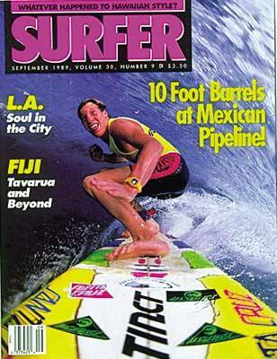 "Shawn ""Barney"" Barron on the cover of Surfer Magazine Sept 1989! #throwbackthursday #shawnbarneybarron #santacruzsurfboards"