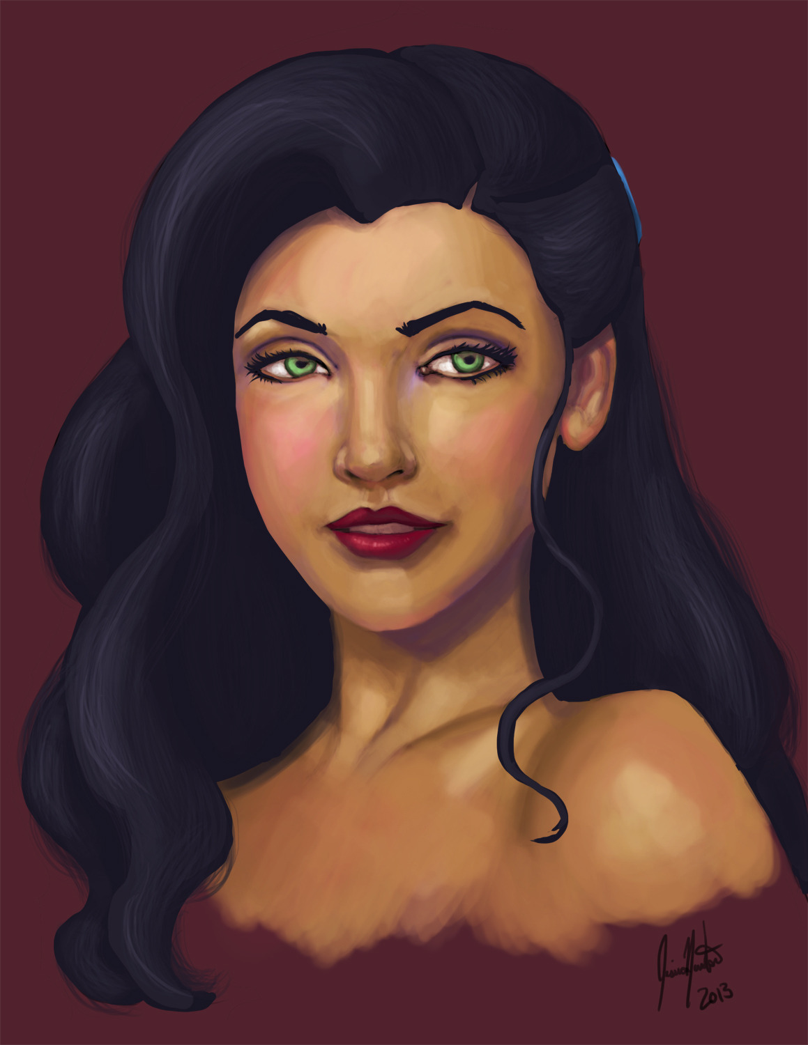 thelittlesketchbookthatcould:  Day 6 A semi-realistic quick paint of Asami Sato!   Mary:Asami isn't white though…