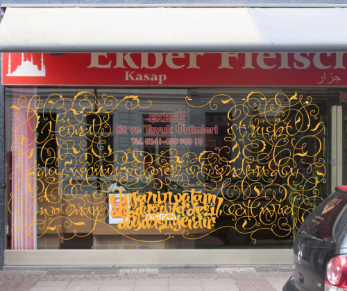 Typeverything.com Lettering on a Turkish butchery shop window by Thomas Hoyer.