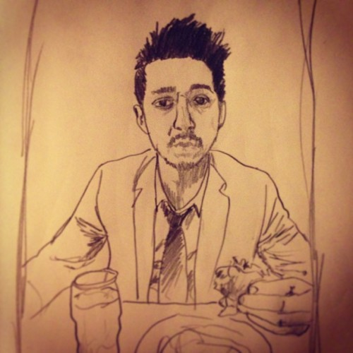"#sketchaday - Day 315: ""LaBeouf Eating A Burger"" #portrait #ShiaLaBeouf #Lawless #Transformers #IndianaJones #CaughtUpYo!"