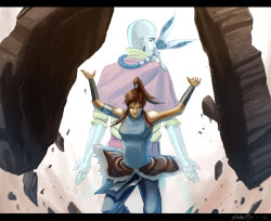 xerox-kitty:  Avatar Korra and Aang by ~Idriu95