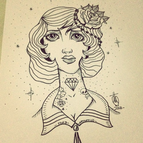 #girl #old #oldschool #draw #tattoo #art #flashtattoo #arttattoo #diamond #rose #skull #star #flowers #inprogress #design in progress!!!!!