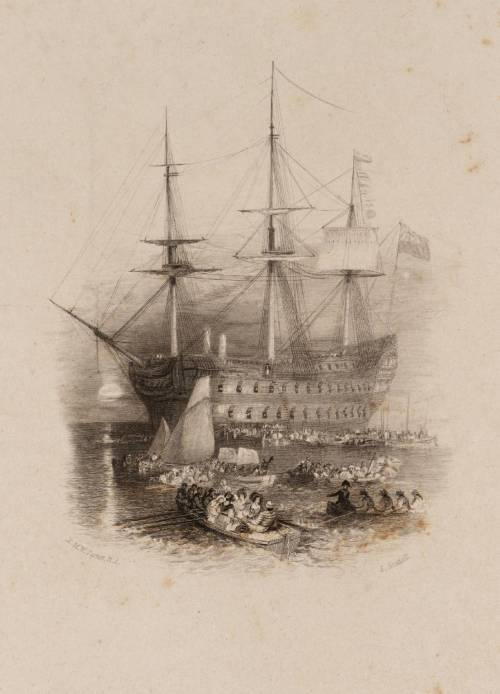 The Bellerophon, Plymouth Sound (Vignette), engraved by E. Goodall published 1836