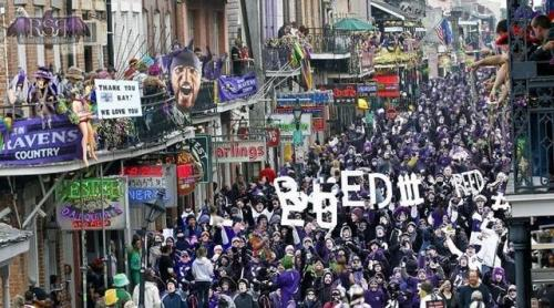 dressing-cold:  Guys. Bourbon Street is all purple. Holy shit.