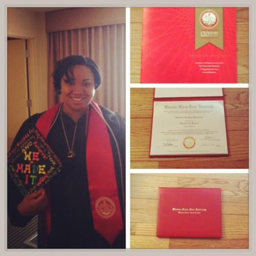 On May 18th 2013 I became a graduate of Winston Salem State University with a Bachelor of Science in Exercise Science. I just want to thank everyone who helped me reach this great accomplishment and everyone who was consistent throughout my journey. I learned so much over these last 5 years and I'm thankful for everything I've been through and experienced (good and bad). If I had a chance to do it all over again I would do it the exact same way. I wouldn't have it any other way.