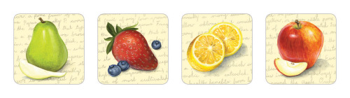 Acrylic fruits for surface textiles, coasters, recipe cards, and stationary alike.